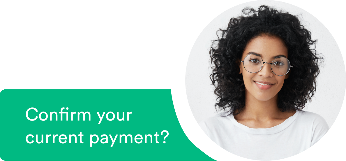 Payment instruction prompt with woman